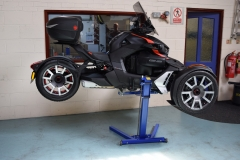 Canam Ryker on Big Blue motorcycle lift