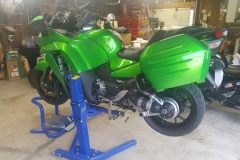 Kawasaki motorcycle lifted with Big Blue