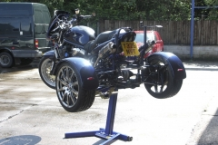Suzuki 1200 Bandit trike life with Big Blue motorcycle lift